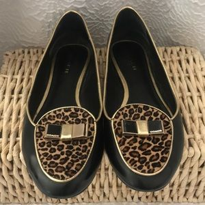 COACH Leopard & Gold Leather Slip-on Flats  Size 7